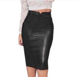 Nwot Philosophy black  faux leather skirt